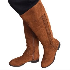 Nine West Chestnut Suede Knee Hight Boots NWB
